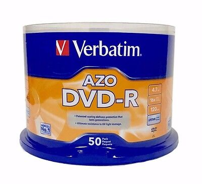 VERBATIM AZO DVD-R 16X 4.7GB Branded Logo 50 pack Spindle 95101