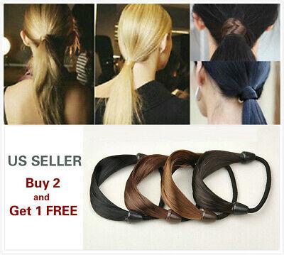 Womens Ponytail Holder - 2Pcs Womens Straight Wig Elastic Hair Band Rope Scrunchie Ponytail Holder