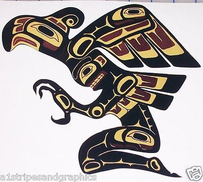 """Tribal Indian Art Human Bird 8.5"""" x 9"""" Window Decal Decals Sticker Wall"""