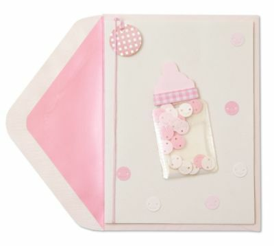 Papyrus Pink Baby Bottle Card   Congratulations   Retail  7 95