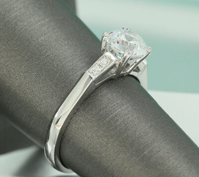 1CT Round CUT Solitaire Accent ENGAGEMENT RING WEDDING BAND 18K WHITE GOLD 6.5