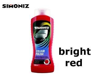 BRIGHT RED - Polish Wax Simoniz Hides Swirl Marks Scratch Remover 500ml Car Van