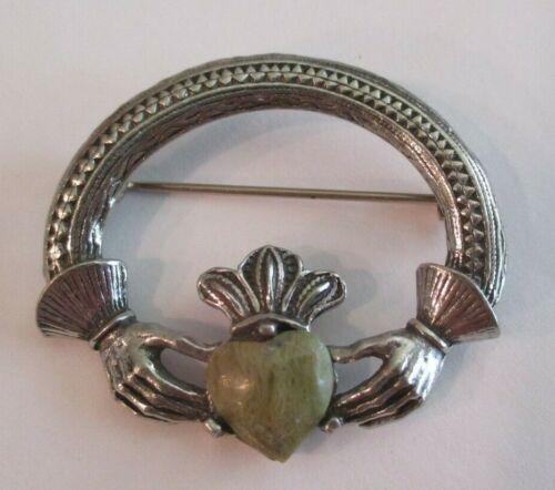 Connemara Marble Heart Claddagh Pin Brooch Silver Tone