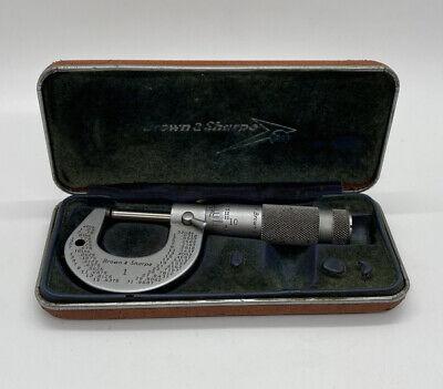Vintage Brown Sharpe No.1 1 Micrometer .0001 Carbide Faces W Case