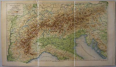 Physische Karte der ALPEN / HÖHENSCHICHTEN 1889 Original-Graphik