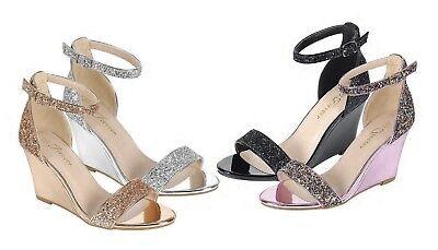 Women Metallic Glitter Open Toe Ankle Strap Med High Wedge Heel Sandal Shoe Pump Pump Medium Heel Ankle Strap