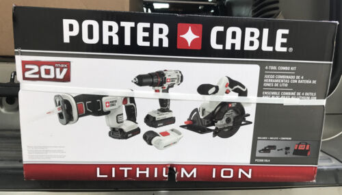 PORTER-CABLE CORDLESS 4-TOOL COMBO KIT POWER TOOL  *new in b