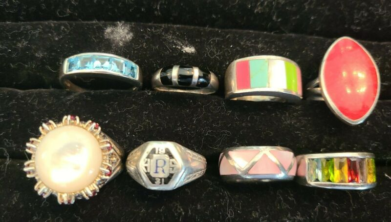 Lot of 8 Sterling Silver Rings Various Sizes