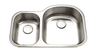KE Premium 16G Offset Double Bowl Undermount Stainless Steel Kitchen Sink (Stainless Steel Undermount Kitchen Sink Double Bowl Offset)