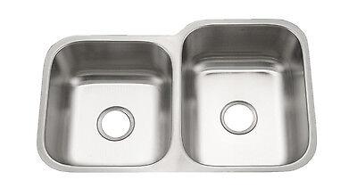 KE Stainless Steel Sink Kitchen Undermount Offset Double 16 Gauge 4060 - Offset Undermount Sink