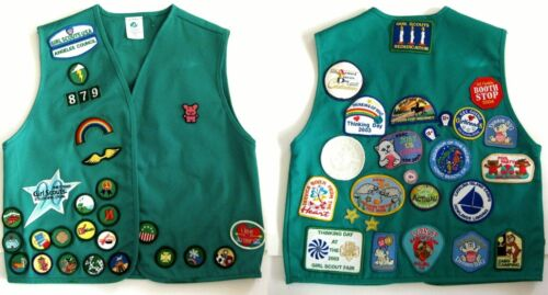 Girl Scout Vest 40 plus Patches Cookie Camping Los Angeles CA Large