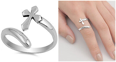 Sterling Silver 925 HIGH POLISH CROSS DESIGN SILVER RING 16MM SIZES 5-10 Cross 925 Silver Ring