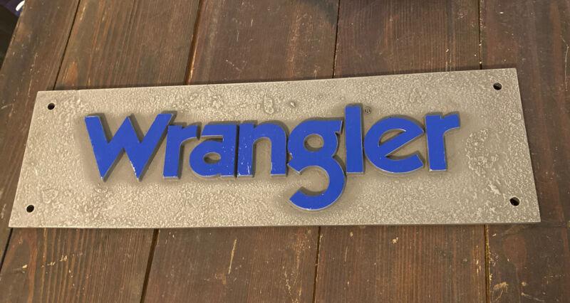 "Vintage Wrangler Blue Jeans Sign Western Store Display 16"" Resin"
