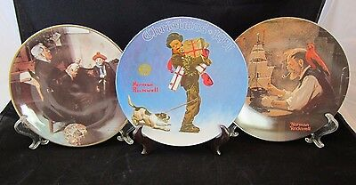 Lot of 3 Norman Rockwell Collector's Plates, Knowles and Royalwood,