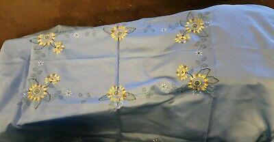 retro vintage decorative blue flower rectangular table cloth large