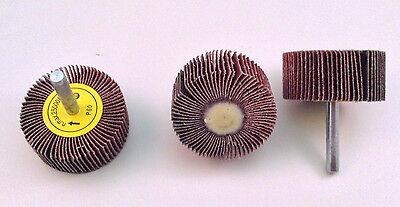 3pcs 2x1x14 Shank 60 Grit Interleaf Flap Sanding Abrasive Wheels Discs