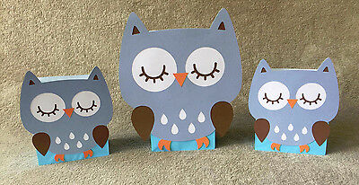 Blue Owl Balloon Centerpieces. Birthday party, Baby shower. Set of 3](Owl Centerpieces)