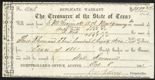 1862 State of Texas Duplicate Warrant – Montgomery County Taxes