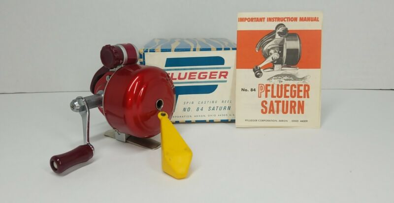 MINT Vintage Pflueger Saturn No 84 Spin Cast Fishing Reel W/ Box Plug & Papers