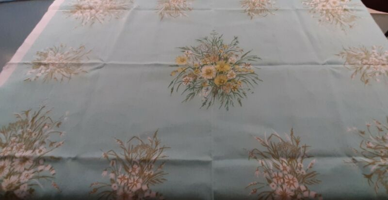 """Vtg Linen Floral Print Tablecloth Turquoise 50"""" by 66"""" rectangular"""