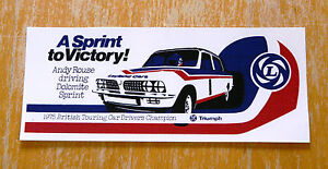 Triumph Dolomite Sprint Andy Rouse 1975 Champion Race Motorsport Sticker Decal
