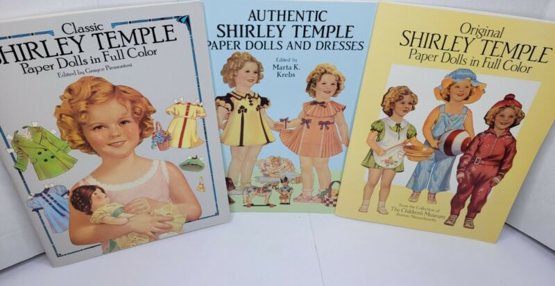 Lot Of 3 Shirley Temple  Authentic Paper Dolls And Dresses