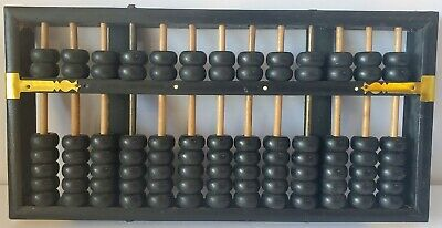 Vintage Abacus Flying Eagle 13 Pole 91 Bead Brown Wood Handmade Chinese NICE