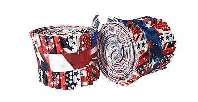 2.5 inch American Patriotic Jelly Roll 100% cotton fabric quilting strips - Fabric Roll