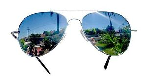 2Pc Small Aviators Sunglasses Full Mirror Lens Silver