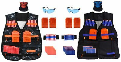 2-Pack Tactical Vest Kit for Nerf Guns Clips, 80 Soft Darts, Masks, Wristbands