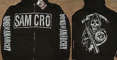 Sons Of Anarchy Soa Samcro Reaper Zip Up Hoodie Jacket Shirt Nwt