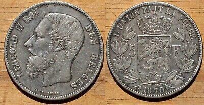 Belgique/Belgium - 5 francs Leopold II 1870 - Silver/Argent