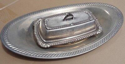 Butter Dish English Silver Mfg Co 391 glass insert Oneida Bread Tray Silver