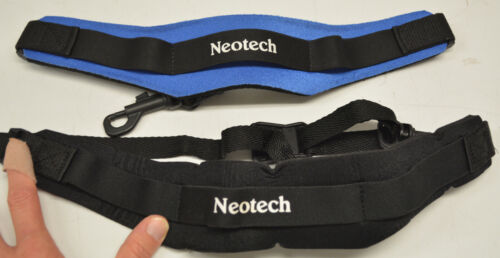 LOT OF 2 USED NEOTECH ALTO/TENOR SAXOPHONE NECK STRAPS, BLUE AND BLACK