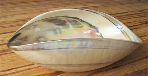 YALOS CASA MURANO Large Modern Mother of Pearl Swirl Wave Folded Glass Bowl