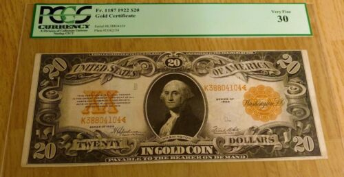1922 $20 GOLD CERTIFICATE PCGS VF-30