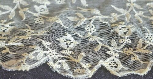 Large Piece Fine Vintage Antique French Embroidered Silk Net Lace Yardage VV693