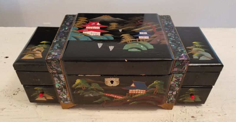 Vintage Asian Jewelry Music Box Mother of Pearl Hand Painted D Batteries Lights