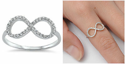 925 Sterling Silver 8mm Clear CZ Infinity Love Knot Design Promise Ring Size4-10