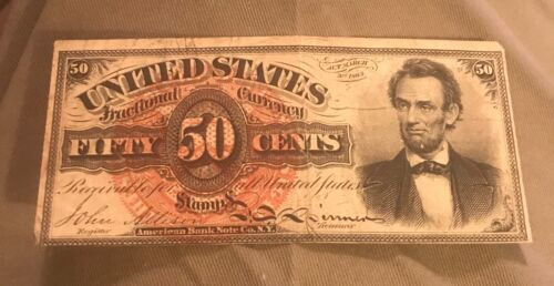 4th issue. 50c Lincoln Fractional currency, VF, scarce