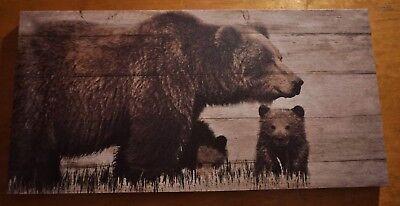 Large BROWN BEAR & CUB Wood Framed Canvas Lodge Log Cabin Home Decor Print NEW