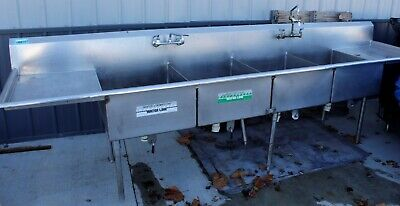 4 Bay Stainless Steel Commercial Sink For Restaurant With Faucets Used