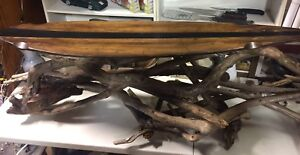 Folk Art Driftwood Longboard Stick Coffee Table