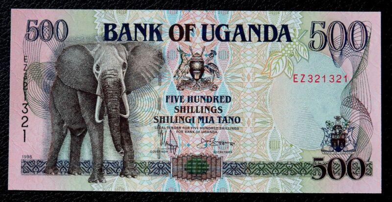 AFRICAN ELEPHANT ON MONEY 1998 UGANDA 500 SHILLINGS BANKNOTE Uncirculated