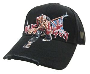 36a7fea909f Iron Maiden Trooper Distressed Black Baseball Hat Cap New Official Merch