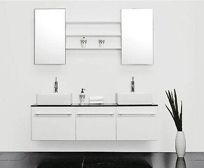 HOCHGLANZ Badmöbel Set 2 Keramik Waschbecken weiß Waschtisch Armatur Polo NEU