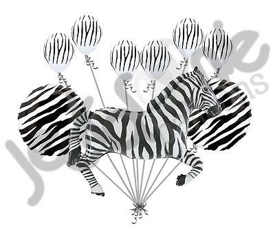 9 pc Black & White Zebra Animal Balloon Bouquet Party Decoration Safari Birthday