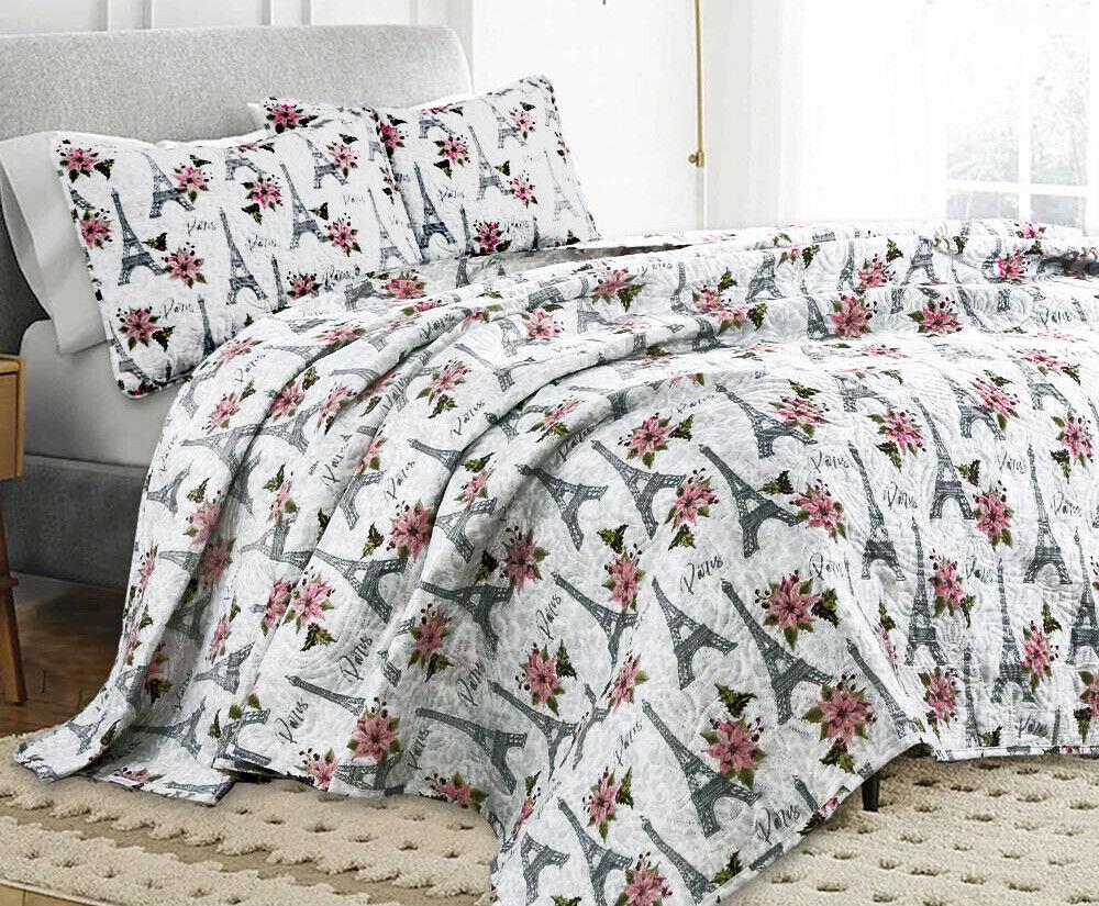 Twin, Queen, or King Paris Flower Eiffel Tower Quilt Coverlet Bedding Set, Pink Bedding