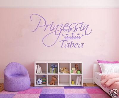 Wandtattoo Kinderzimmer Mädchen Deko Prinzessin Fee mit Krone Krone + Name pk96 ()