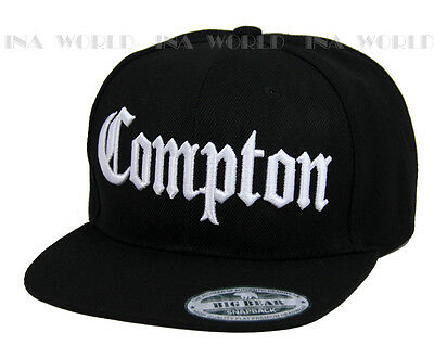 COMPTON hat 3D embroidered Snapback Baseball cap Flat Hiphop Bill - Black/White